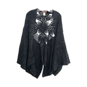 Free People Charcoal Crochet Detail Back Poncho OS